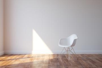 Stylish White Chair In Minimalist Style Interior