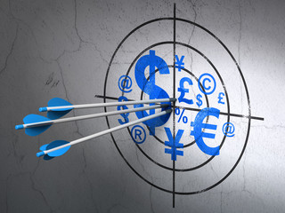 Marketing concept: arrows in Finance Symbol target on wall