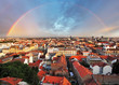 Zagreb cityspace with rainbow