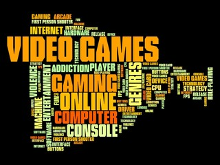 Video games - word cloud concept