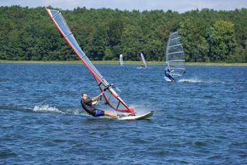 Windsurfing on the lake Niesłysz, Poland