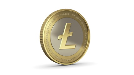 Golden spinning Litecoin digital currency animation