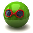 Green ball with sunglasses