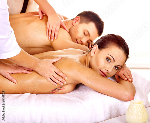 Man and woman relaxing in spa.