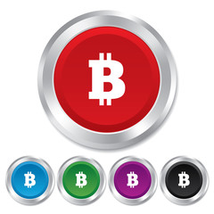 Bitcoin sign icon. Cryptography currency symbol