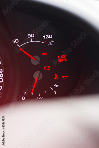 Car instrument panel. Close up