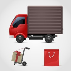red truck with a gift vector icon xxl