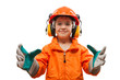 Little smiling child boy engineer or manual worker
