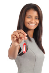 Beautiful african american businesswoman giving a home keys