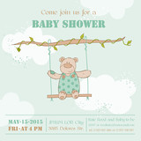 Baby Shower Card - with Baby Bear - in vector