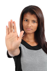 African american woman making stop gesture with the hand