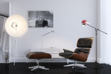 Black Stylish Leather Armchair In Minimalist Office