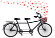 tanden bicycle with red hearts, vector - 60470748
