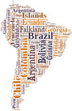 Tag or word cloud South America countries related poster