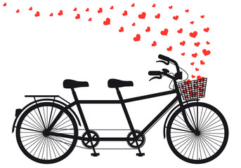 tanden bicycle with red hearts, vector