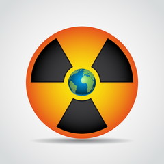 Nuclear radiation symbol with earth isolated on grey background