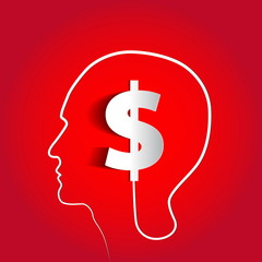 Money icon design in head think concept - vector illustration