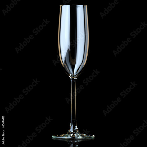 Flyute Glass For Champagne On Black Background