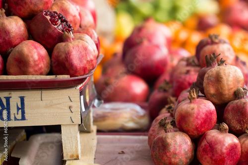 Pomergranates at fruit marketplace