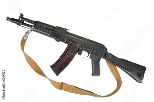 russian kalashnikov AK assault rifle on white