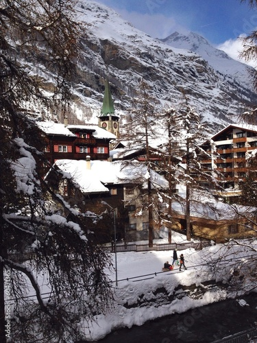 center of zerman village in swiss alps europe