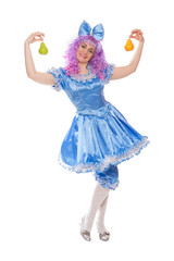 pretty girl in the Malvina blue dress with pears