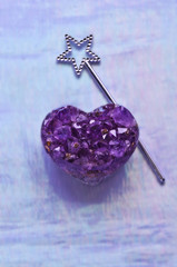 Heart Amethyst with Silver Star Wand