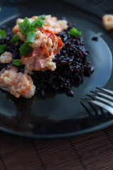 black rice with shrimps
