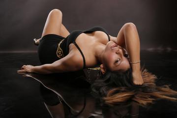 Hot latino girl on the floor