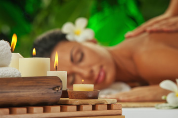 spa. focused on candles