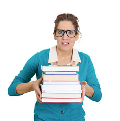 Studying, stressed, worried woman holding pile of books