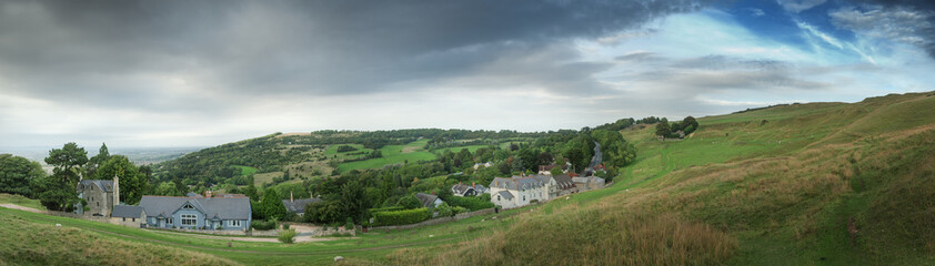 View of cottages from the hillside, England