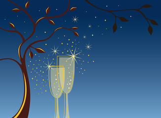 Invitation background with 2 champagen glasses