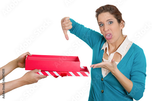 Bad gift idea. Woman unhappy with gift she received