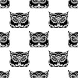 Cute little wise old owl seamless pattern