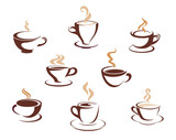 Fototapety Set of steaming cups of hot beverages
