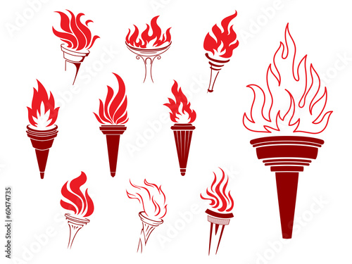Collection of burning torches