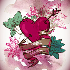 Hearts and Flowers Vector Illustration
