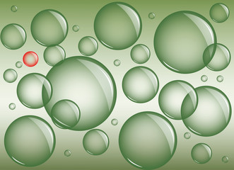 Green background with bubbles