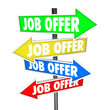 Job Offers Arrow Signs Several Choices Directions Decide Career