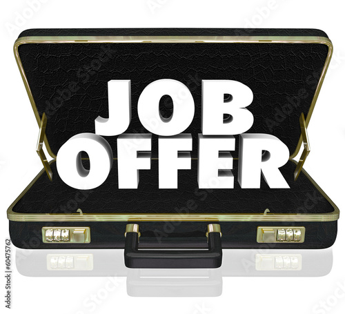 Job Offer Career Opportunity Words Black Leather Briefcase