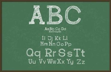 Hand draw alphabet, blackboard / chalkboard, vector Eps10