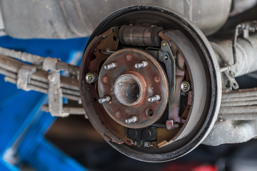 Rusty Drum Brake waiting for Maintenance in Service Garage