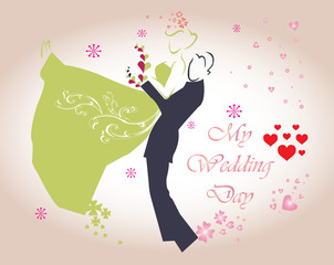 wedding card - template with cute groom and bride