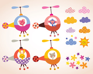 cute animals in helicopters kids design elements set