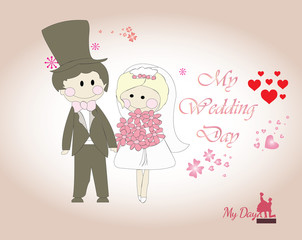 wedding card - template with cute man and girl