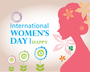 Happy women day card - Lady with flower on pink background