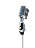 3d Vintage silver microphone isolated on white background