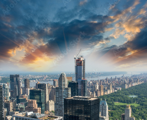 Central Park, New York. Sunset aerial view of trees and skyscrap
