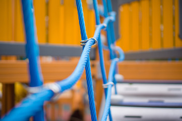 Walk bridge with side rope protection on handrails